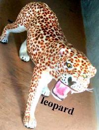 Leather Handicraft Leopard Statues