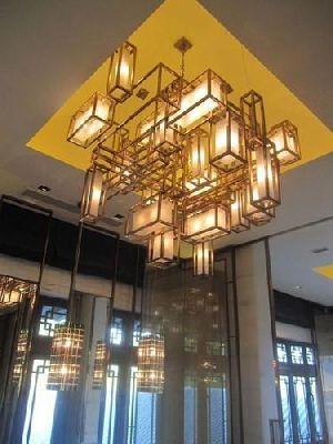 Glass Brass Chandelier