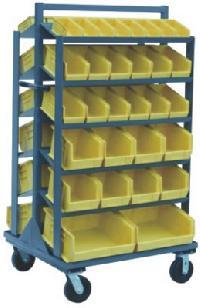 Plastic Bin Sloped Shelf Truck And Stand
