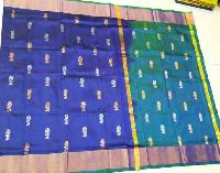 Blue and Green Color Pure Silk Saree
