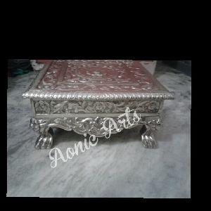 Silver Inlay Pooja Chowki