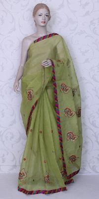 Super Net Cotton Embroidery Patchwork Sarees - Body & Pallu