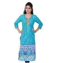 Turquoise Embroidered Women's Kurti