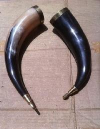 viking drinking horn with brass lip