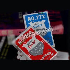 Custom Casino Gambling Props Silver Plastic Bridge Playing Cards