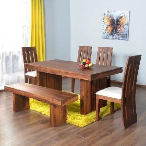Acacia Wood Jodhpuri Dining Table Set (RHP-DINING-005)