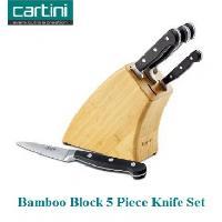 7254 Cartini 5 Pcs. Knife Set With Bamboo Block
