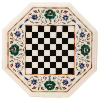 Marble Inlay Chess Design Table Top