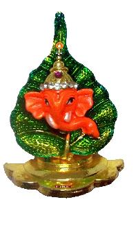 Green Leaf Ganesha Idol for Car Dashboard