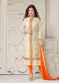 Orange Chanderi Cotton Straight Suit