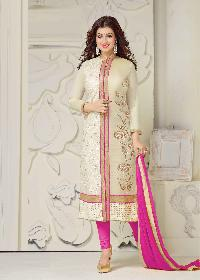 Pink Embroidered Un Stitched Straight Suit