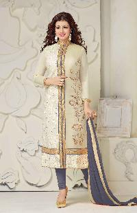 Gray Embroidered Straight Suit