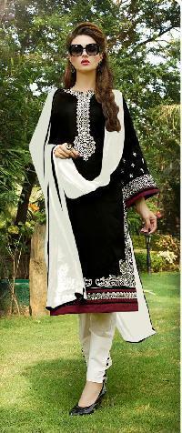 Black Cotton Straight Churidar Salwar Suits
