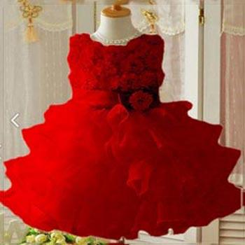 Girls Red Party Wear Dress