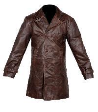 Mens Leather Pea Coat