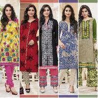 Readymade Pure 1oo% Cotton Salwar Kameez & Dupatta Suit - All Sizes Av