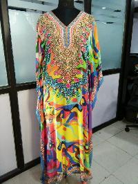Digital printed party wear pure silk long kaftan