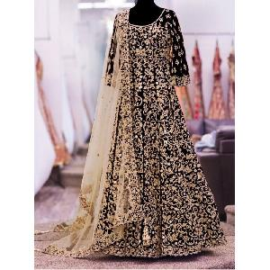 Black Heavy Embroidered Anarkali Suits