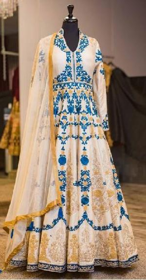 Blue Embroidered White Anarkali Suits
