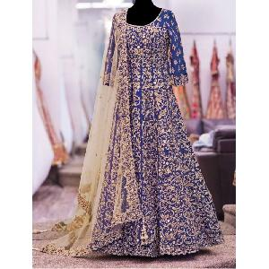 Blue Heavy Embroidered Anarkali Suits