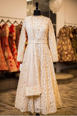 Off White Embroidered Anarkali Suits