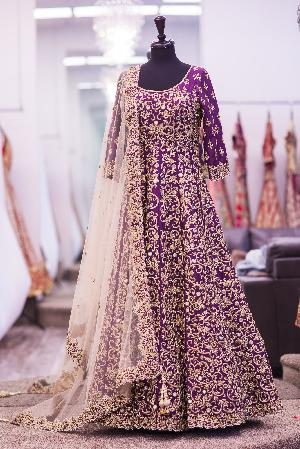 Purple Heavy Embroidered Anarkali Suits