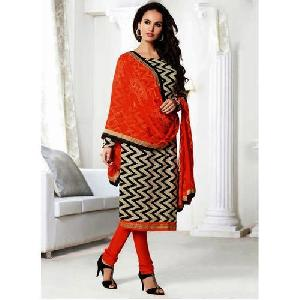 Adorning Black Chanderi Ladies Suits