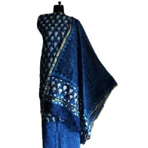Dabu Indigo Block Printed Chanderi Ladies Suits