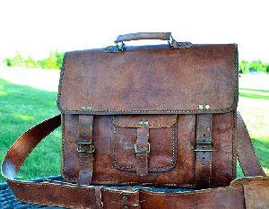 Vintage Leather Messenger Bag Briefcase