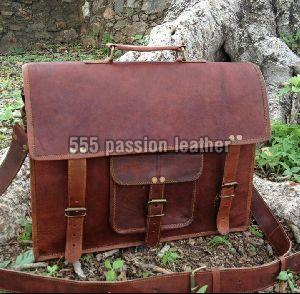 Ganuine goat leather laptop messenger bag