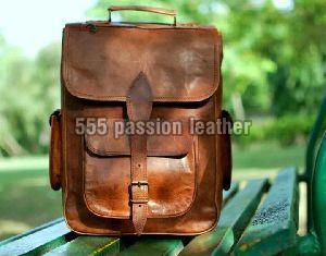 Ganuine goat leather messenger college backpack bag