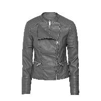Womens Grey Leather Jacket