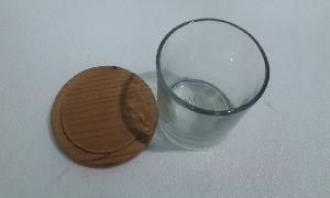 Clear Glass Candle Jar with Wooden Lid