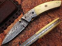 Thunder Bird Pocket Knife Damascus Steel Blade Bone Handle