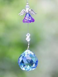 Blue Flower Angel Crystal Hanging Suncatcher