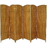 Beige Tall Diamond Weave Fiber 6 Folding Panel
