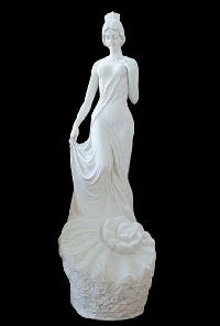 Base Sculpture White Sandstone Stylish Lady