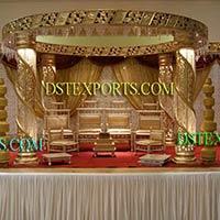 Latest Wedding Fiber Crystal Golden Mandap