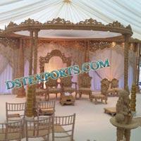 Wedding Wooden Double Pillar Mandap Set