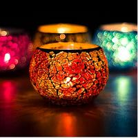 Mosaic Glass Candle Light Holder