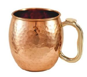 COPPER BEER MUG WITH BRASS HANDLE FDA APPROVE FOR HEALTH PLUS.