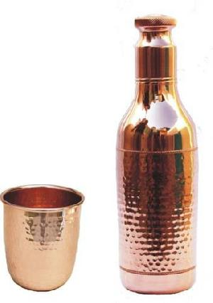 Copper Drinking Water Bottle with Glass.