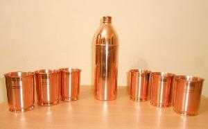 Pure Copper Bottle With Glass.