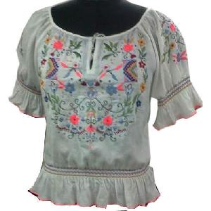 Ladies Embroidered Half Sleeves Tops