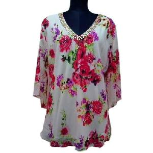Ladies Floral Print Full Sleeves Tops