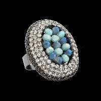 Oval Ocean Beaded Ring