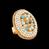 Oval Aqua Beaded Ring