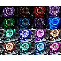 4 Led H4 Headlight With Multi Color Flashing Ring Fo