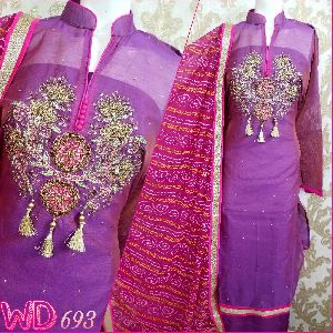 Chanderi Hand Work Suits W-693