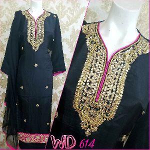 Ladies Silk Party Wear Suit W-614
